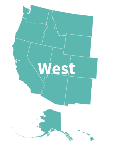 USA map west: Alaska, Arizona, California, Oregon, Nevada, Idaho, Hawaii, Montana, Colorado, New Mexico, Washington, Wyoming, Utah.