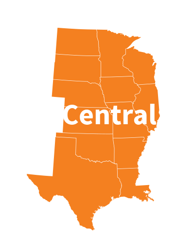 USA map central states: North Dakota, South Dakota, Minnesota, Illinois, Wisconsin, Nebraska, Iowa, Kansas, Missouri, Oklahoma, Arkansas, Texas, Louisiana.