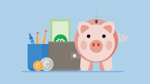 A cartoon of a piggy bank, wallet with cash and coins, and a cup of pencils and crayons, symbolizing learning/growing with money