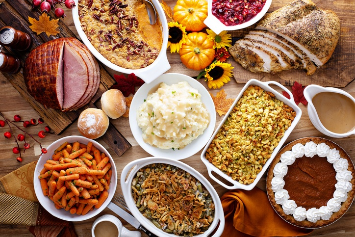 Spread of Thanksgiving food on a table