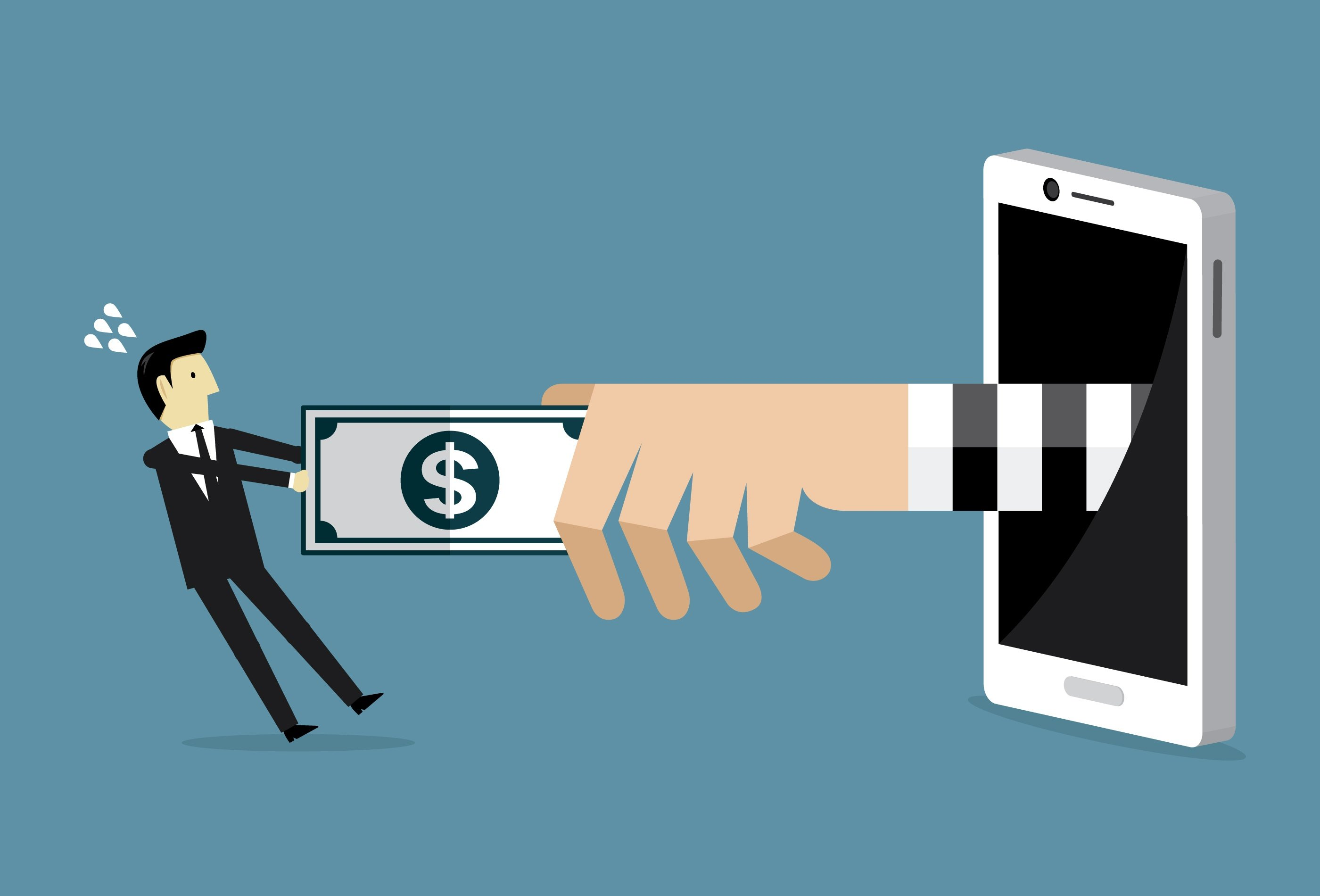Cartoon man pulling money from hand extended out from phone to symbolize donation scams