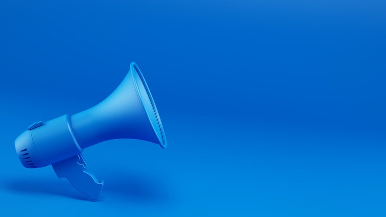 Blue bullhorn to symbolize an alert