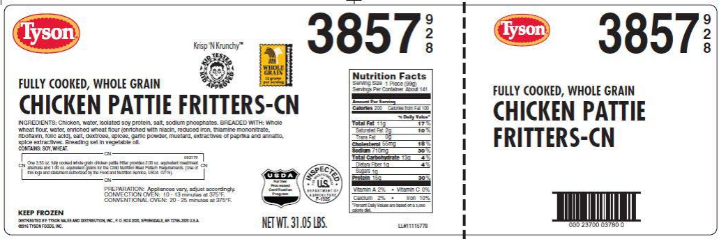 """The RTE breaded chicken items were produced and packaged on various dates from Aug. 17, 2016 through Jan.14, 2017. The following products are subject to recall: 31.86-lb. bulk cases of """"Tyson FULLY COOKED, WHOLE GRAIN STRIP-SHAPED CHICKEN PATTIE FRITTERS-CN"""" with case code 003859-0928 and production dates of 09/09/2016, 10/05/2016, 10/14/2016, 10/15/2016, 11/09/2016, 12/10/2016, 12/30/2016 and 01/14/2017. 31.05-lb. bulk cases of """"Tyson FULLY COOKED, WHOLE GRAIN CHICKEN PATTIE FRITTERS-CN"""" with case code 003857-0928 and production dates of 11/12/2016.  30.6-lb. bulk cases of """"Tyson FULLY COOKED, WHOLE GRAIN BREADED CHICKEN PATTIES-CN"""" with case code 016477-0928 and production dates of 09/10/2016, 09/16/2016, 09/23/2016, 09/30/2016 and 10/06/2016. 30.6-lb. bulk cases of """"Tyson FULLY COOKED, WHOLE GRAIN CHUNK-SHAPED BREADED CHICKEN PATTIES-CN"""" with case code 016478-0928 and production dates of 09/16/2016, 09/28/2016 and 10/06/2016. 20.0-lb. bulk cases of """"Tyson FULLY COOKED, BREADED CHICKEN PATTIES-CN"""" with case code 005778-0928 and production dates of 09/14/2016, 09/19/2016 and 10/03/2016. 32.81-lb. bulk cases of """"Tyson FULLY COOKED, WHOLE GRAIN GOLDEN CRISPY CHICKEN CHUNK FRITTERS-CN CHUNK-SHAPED CHICKEN PATTIE FRITTERS"""" with case code 070364-0928, packaging and production date of 08/17/2016. 20-lb bulk cases of """"SPARE TIME, Fully Cooked Breaded Chicken Patties"""" with case code 005778-0861 and production date of 10/03/2016. 20-lb bulk cases of """"SPARE TIME, Fully Cooked Chicken Pattie Fritters"""" with case code 016477-0861 and production date of 09/16/2016 and 10/06/2016."""