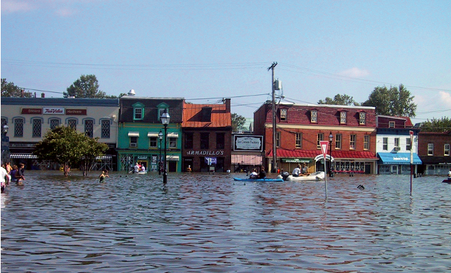 Flood in front of shops in town. Link goes to FTC's flood insurance scams page.