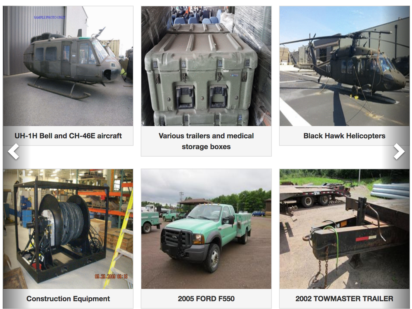 Six examples of things you can buy from a government auction, such as a pickup truck, helicopters, and medical storage boxes