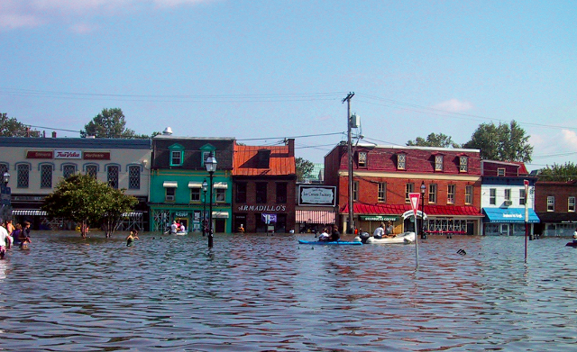 Flooding in front of businesses