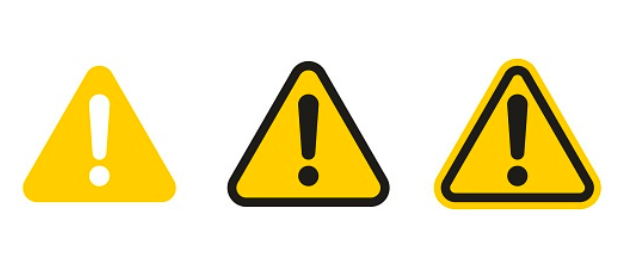Three yellow triangle warning signs in a horizontal row