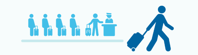 Icons of man walking with suitcase away from long travel line at the airport