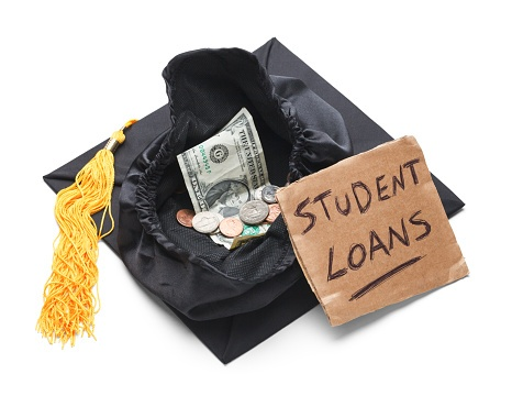 Upside down graduation cap with money in it and sign that says Student Loans
