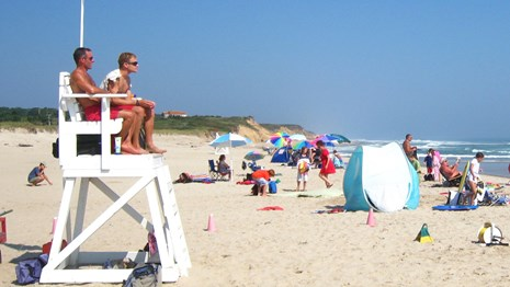 Pair of lifeguards watch over a beach. Link goes to Kids.gov's page on shark attacks.