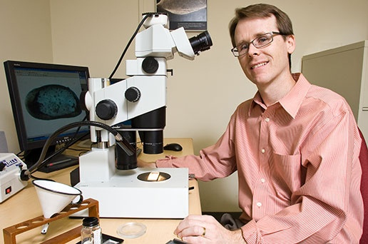 Paleontologist Gene Hunt poses in front on his microscope. Link takes you to Smithsonian's Science How page.
