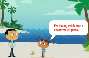 Screen shot of Lost and Found game. Link goes to PBSKids page on Spanish vocab games.