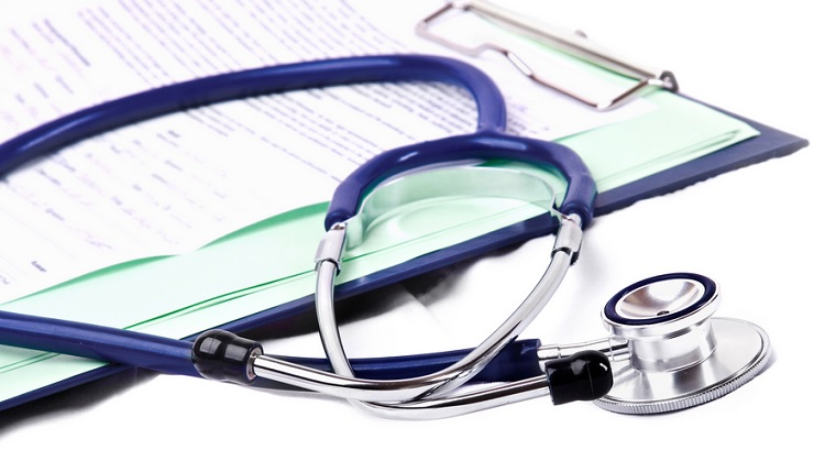 Stethoscope on a medical clipboard