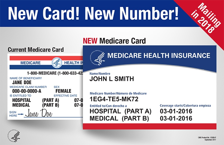 Picture of the new Medicare card as compared to the old one with the text