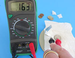 A voltage meter. Link takes you to science buddies experiment on how to make a battery.