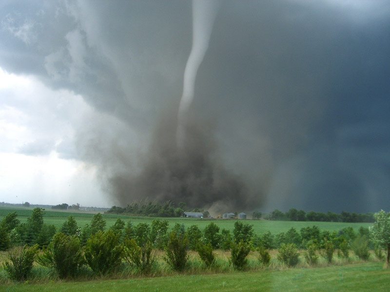 Tornado forming on a field