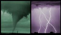 Picture of a tornado and thunder storm. Link goes to NWS' online weather school.