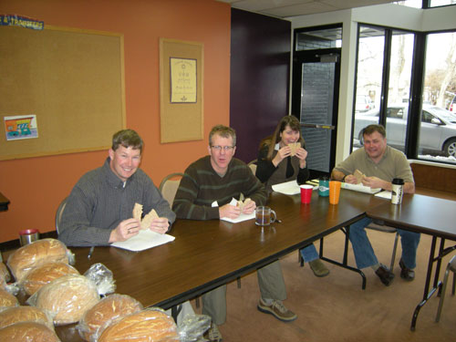 Bread tasting crew photo at Great Harvest