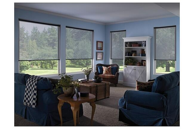 voile roller blinds in a living room