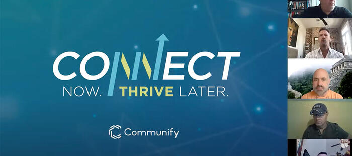 Connect now. Thrive Later. Webinar title graphic.