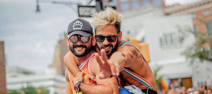 Two guys at a Pride event