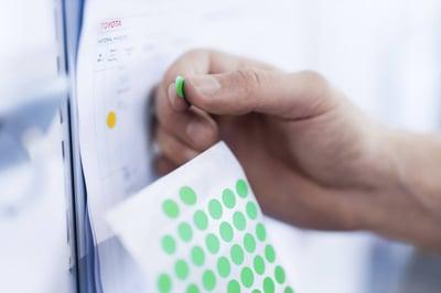 gestión visual con etiquetas verdes