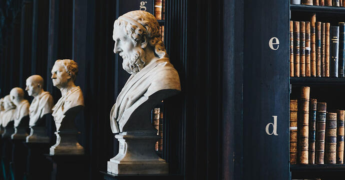 Marble busts of the great philosophers and writers line the Long Room in Trinity College Dublin