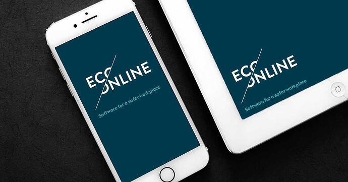 White phone and white tablet on a black background with the EcoOnline logo and tagline displayed on the sceen