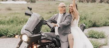 Bride and Groom on Motorcycle - The Orchard - Menifee, California - Riverside County - Wedgewood Weddings