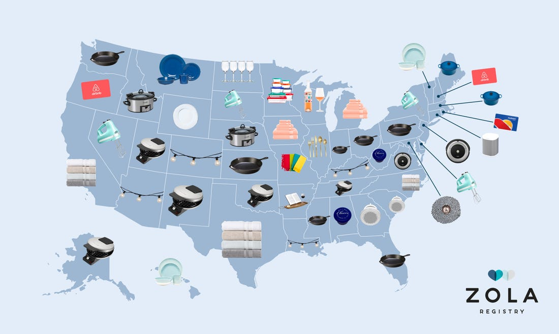 Unites States Map - Zola Most Popular Registry Gifts by State - Wedgewood Weddings