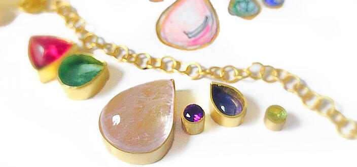 22k gold and gemstone necklace design by Katy Beh Jewelry.