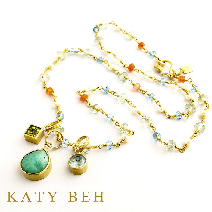 Custom Blue Topaz Chrysoprase Peridot Pendant 22k Gold Necklace Mothers Katy Beh Jewelry New Orleans
