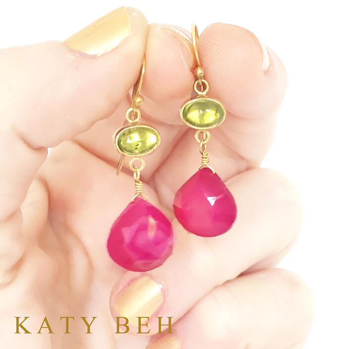 Martha Peridot Pink Chalcedony 22k Gold Earrings Katy Beh Jewelry New Orleans 3