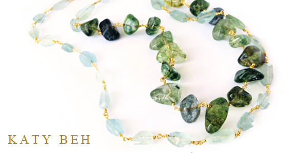 Nan Aquamarine Green Tourmaline 22k Gold Necklace Katy Beh New Orleans Misc