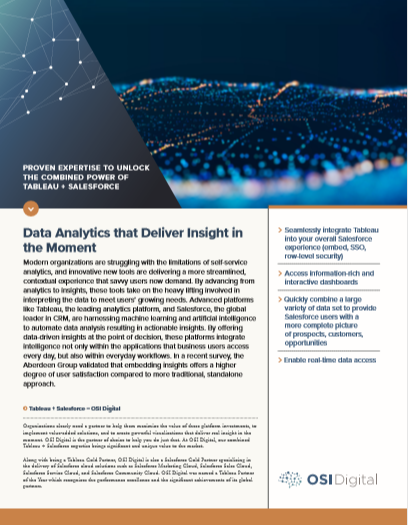 Data Sheet: Data Analytics that Delivers in the Moment