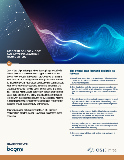 White Paper: Accelerate Dell Boomi Flow Data Integrations with on Premise Systems