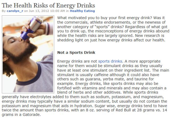 health risks of energy drink This information is included on the label of energy drinks in accordance with health  health canada's energy drink  risks in the canadian context, health.