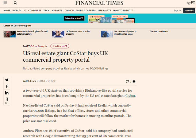 Press coverage of CoStar's acquisition of Realla