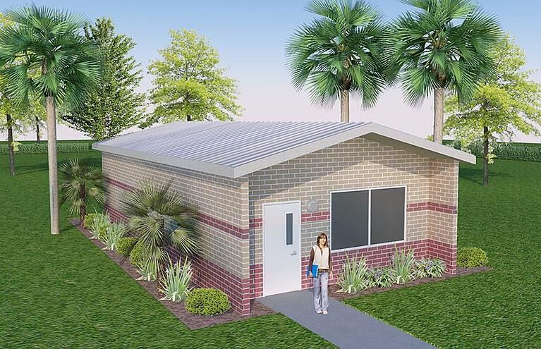 20x40-Gable-Roof-Precast-Concrete-Classroom-2-Tone-Brick-with-Accent-and-Standing-Seam-Leesburg-Concrete