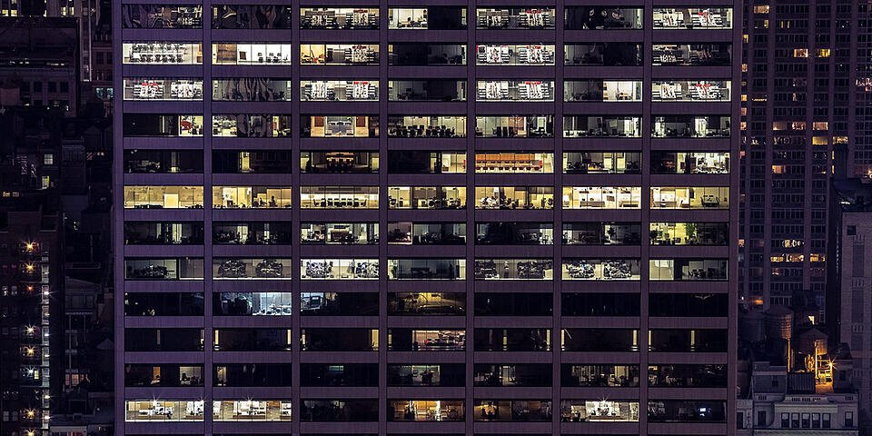 Office building at a bird's eye view