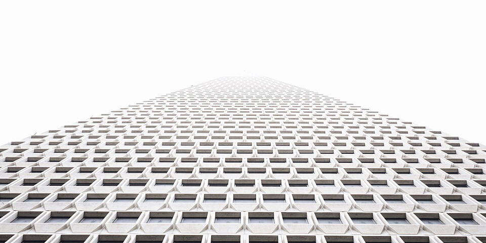Perspective view of a building from the bottom