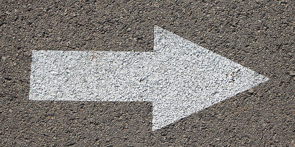 Street pavement arrow pointing right