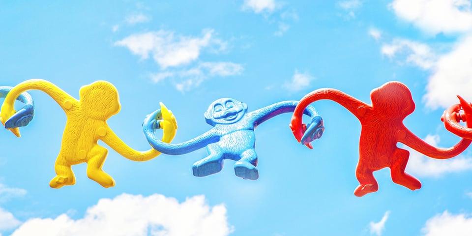 Linked toy monkeys