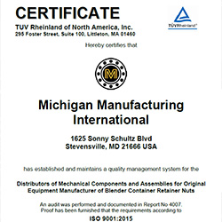 Michigan Manufacturing International Receives ISO 9001:2015 Certification
