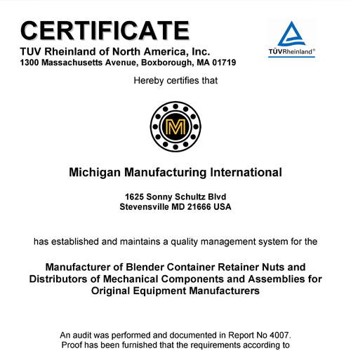 MMI Headquarters Receives ISO 9001:2008 Certification