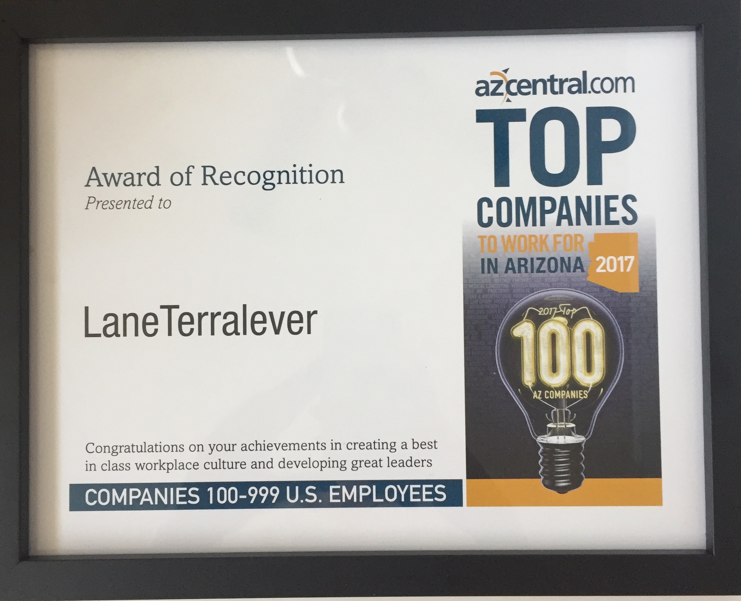 LaneTerralever Recognized as a Top Company to Work For in Arizona