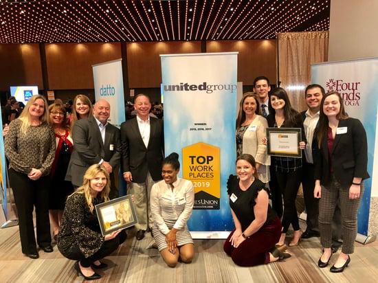 2019 TU Top Work Place Award Photo