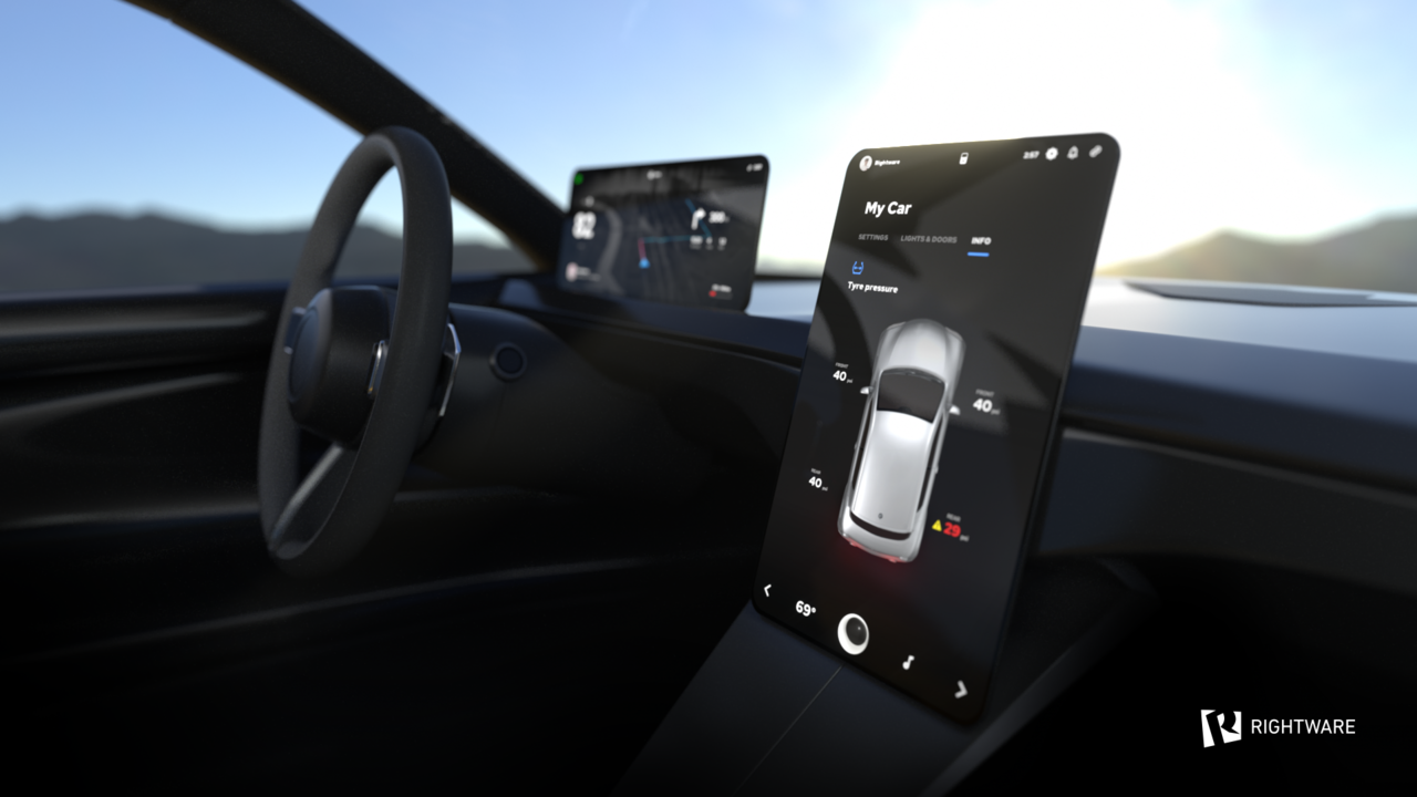 Rightware's HMI platform demonstrated in a multi-display connected vehicle
