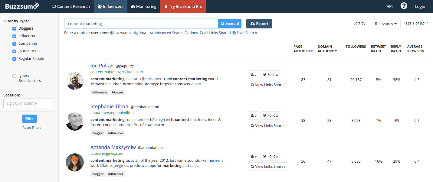 Buzzsumo for content promotion strategy