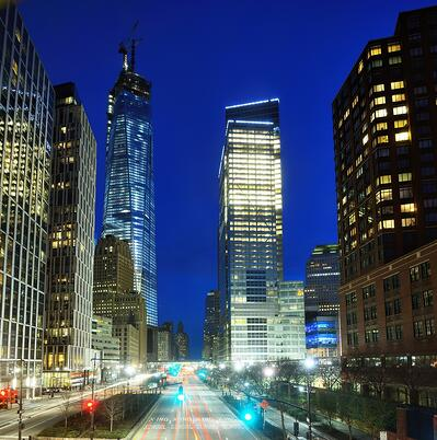 Financial district cityscape of New York City